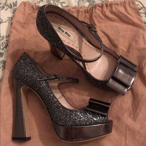 MIU MIU Sparkle Mary Jane heels size 37